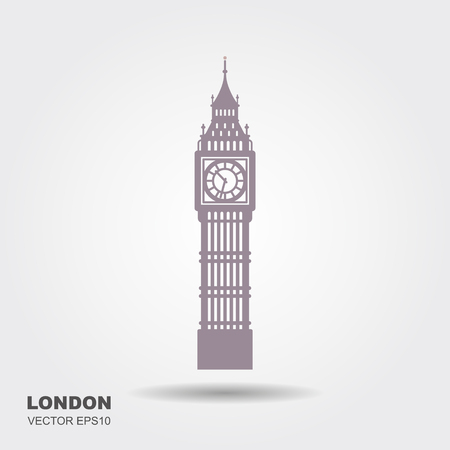 Vector Illustration of Big Ben Tower, London Çizim