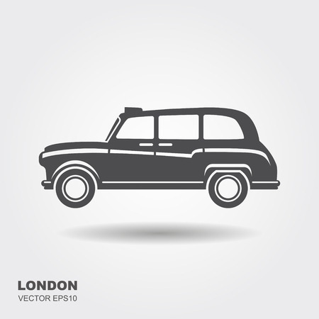 London car taxi vector illustration. Flat icon with shadow