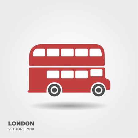 London double-decker flat red bus. Vector icon