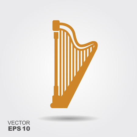 Golden harp icon. Flat design style vector illustration