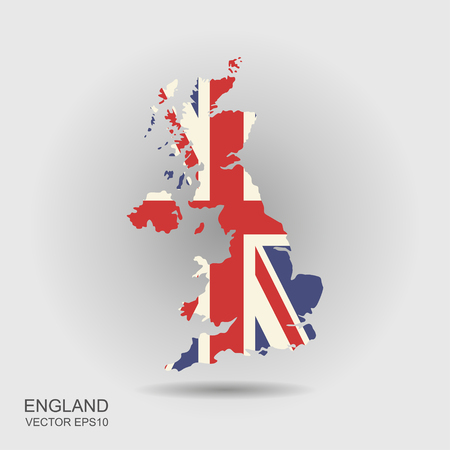 United Kingdom vector map with the flag inside. Illusztráció