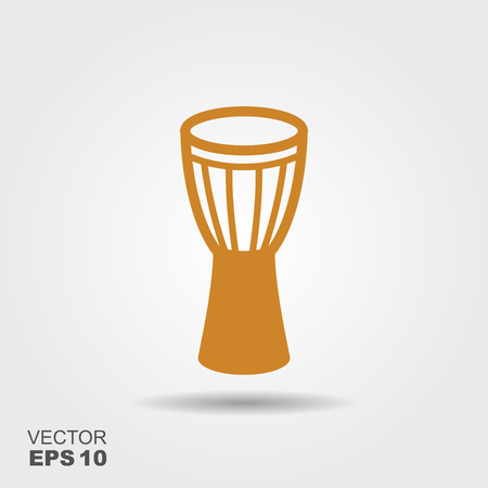 Traditional African drum Djembe. Flat vector icon
