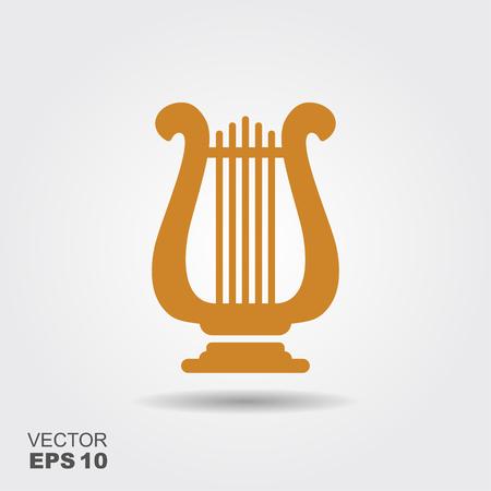 Lira de oro. Ilustración plana de vector de icono de tema de música