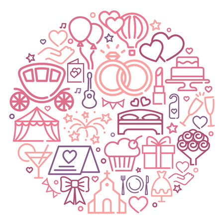 Wedding line icons in the form of a circle. Modern graphic design concepts, simple outline elements collection. Vector line icons Illustration