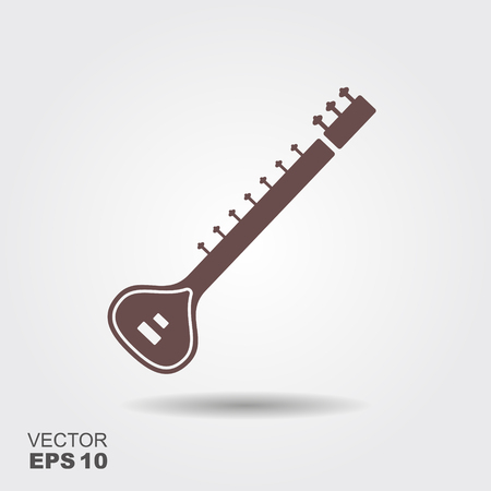 Indian sitar musical instrument icon Illustration