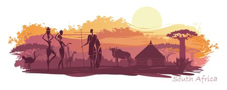 Sunset in Africa with the silhouettes of national housing, baobabs, acacia, wildebeest and natives Illustration