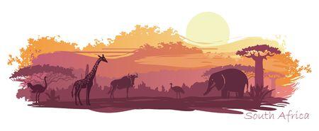 Animales salvajes en el telón de fondo de la puesta de sol africana Ilustración de vector
