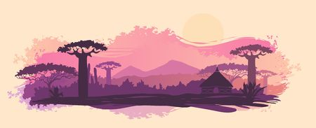 African landscape with tree silhouette. Savanna sunset background.