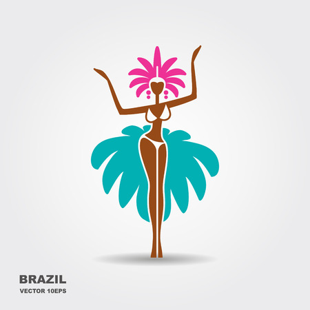 Brazil carnival dancer vector silhouette illustration isolated on white background Illustration