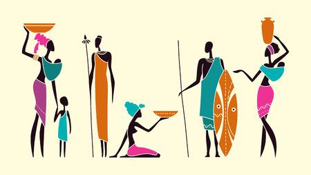 Silhouetten von afrikanischen Männern und Frauen mit Kindern in traditioneller Kleidung