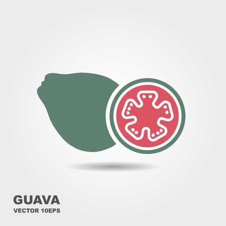 Guava fruit vector flat icon with shadow