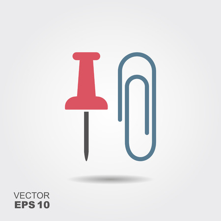 Paper clip and thumbtack. Flat icon stationery.