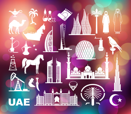 Symbols Of The United Arab Emirates. Set of vector icons on the Colorful background with defocused lights Illustration