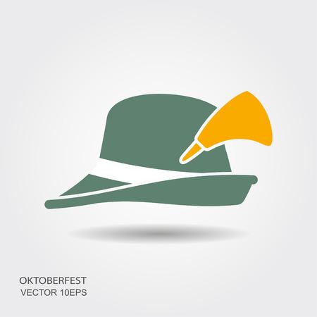 e8fe7ce8286 Flat design green oktoberfest hat on white background Illustration