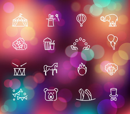 Circus icons set in linear style on the Colorful background with defocused lights