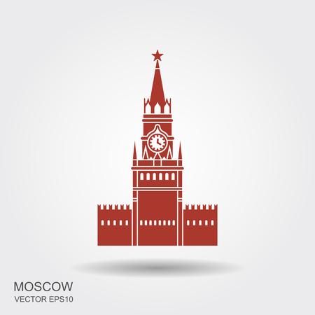 Kremlikone im Karikaturstil lokalisiert auf weißem Hintergrund. Russische Landsymbolvorrat-Vektorillustration. Vektorgrafik