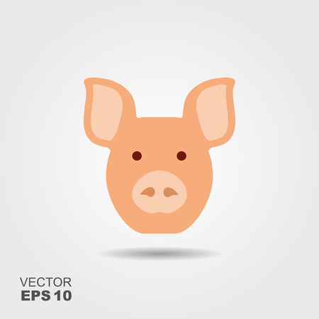 Vector image of an pig head on white background. Flat icon