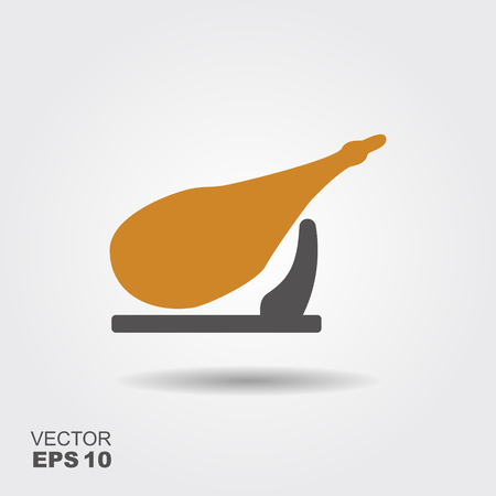 Vector illustration of jamon - national delicacy of Spain. Flat icon