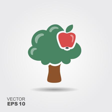 Vector apple tree isolated on white background. Flat stylized icon Illustration