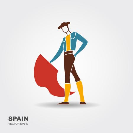Bullfight, matador. Flat stylized icon Vector illustration