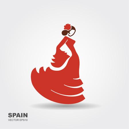 Spanish flamenco dancer. Flat icon Vector Illustration