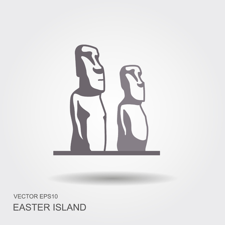 Easter island statues vector illustrarion. Flat icon Stock Vector - 105752165