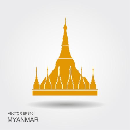 Shwedagon Pagoda in Yangon, Myanma symbol icon