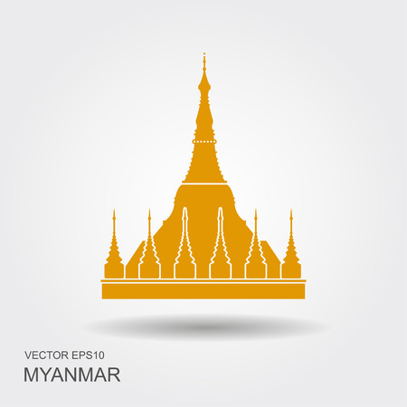 Shwedagon Pagoda in Yangon, Myanma symbol icon Illustration