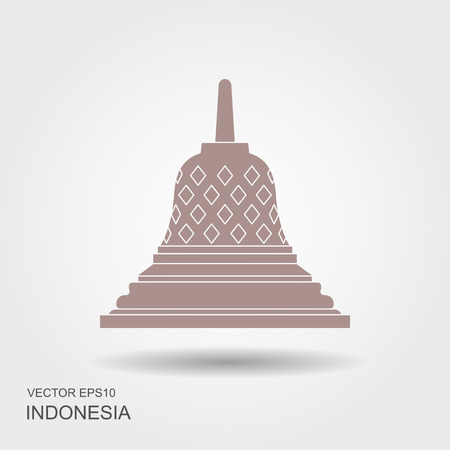 Indonesian Borobudur ancient temple vector illustration