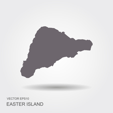 Easter Island or Rapa Nui political map with shadow