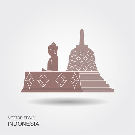 Indonesian Borobudur ancient temple. Flat icon with shadow