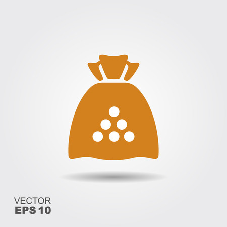 Sack with flour, cereals or sugar. Flat vector icon