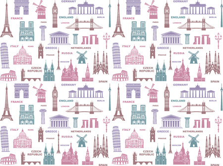 Seamless background with European Travel Landmarks. Vector illustration. London, Paris, Prague, Barcelona, Moscow Rome Athens Berlin