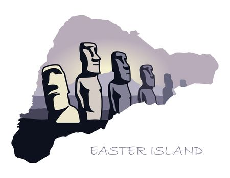 Map of Easter island with the image of attractions. Easter island statues in a landscape