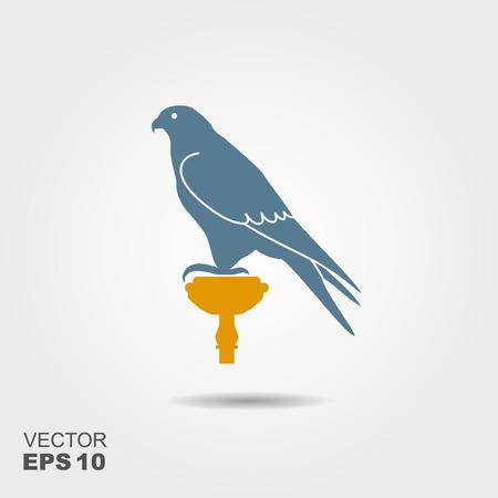 Sagoma di un falco. Icona di vettore piatto con ombra