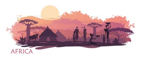 Sunset in Africa with the silhouettes of national housing, baobabs, acacia, wildebeest and natives