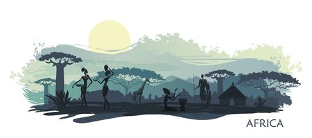 Sunset in Africa with the silhouettes of national housing, baobabs, acacia, giraffe and natives