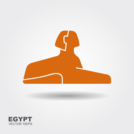 Vector illustration Egyptian sphinx. Flat stylized icon with shadow
