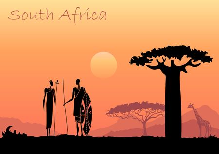 African sunset landscape with silhouettes of people, animals and trees