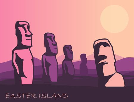 The landscape of Easter island with the famous sculptures at sunset. Vector Illustration