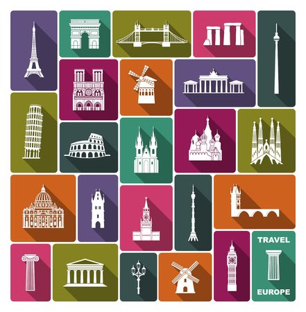 Collection of Europe detailed silhouettes. Set Travel Landmarks. vector illustration. London, Paris, Prague, Barcelona, Moscow Rome Athens Berlin Illustration