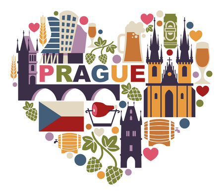 Czech Republic and Prague symbol in the form of heart Stok Fotoğraf - 107312650