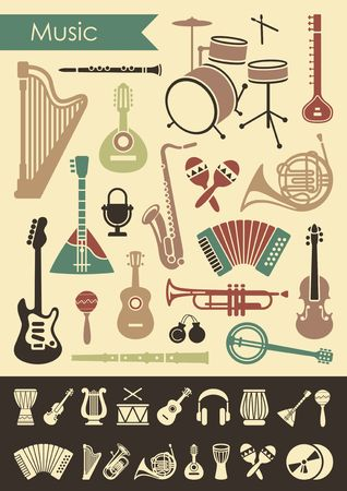 Musical instruments icon set in flat style