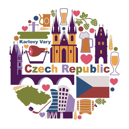 Traditional symbols of the Czech Republic in the form of a circle