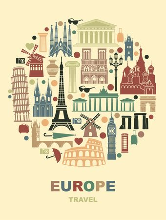 Collection of Europe detailed silhouettes in the form of a circle. Set Travel Landmarks. vector illustration. London, Paris, Prague, Barcelona, Moscow Rome Athens Berlin 矢量图像