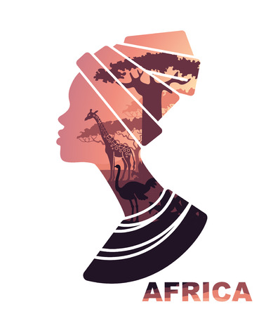 African woman s head silhouette with sunset view