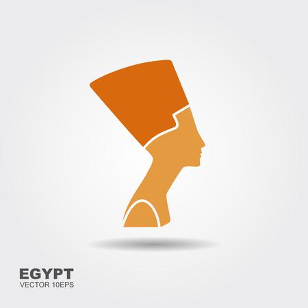 Egyptian silhouette icon. Queen Nefertiti. Vector flat icon