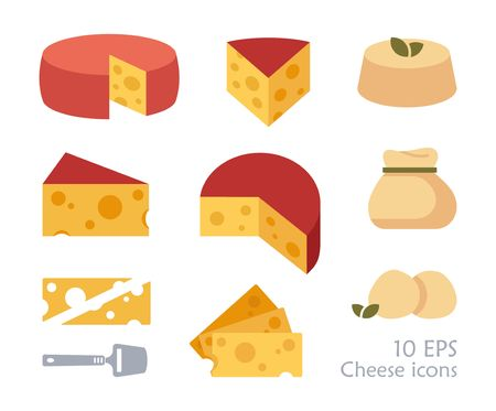 Pieces of cheese icons on white background. Different cheese types in flat style. Ilustracja