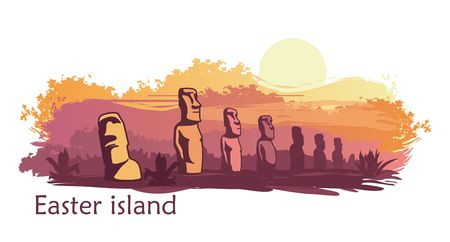 The landscape of Easter island with the famous sculptures at sunset. Vector Illustration Векторная Иллюстрация
