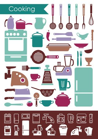 Collection of icons of kitchen utensils and household appliances
